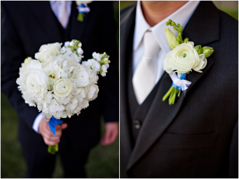 Sweet white wedding bouquet and boutonierre