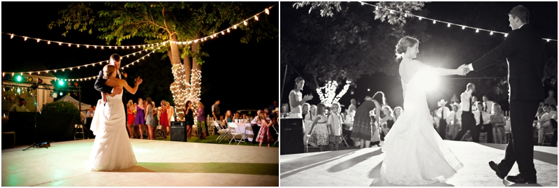 Texas country wedding with strung lights and guests dancing at reception