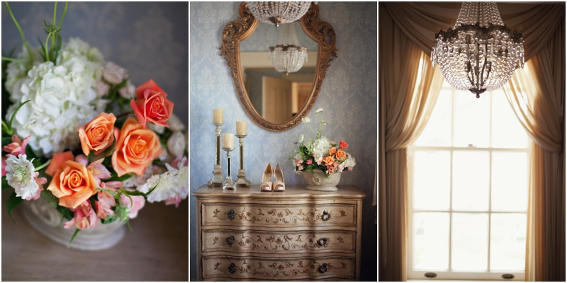 Detail shot of Bride's Jessica Simpson pumps and the beautiful details of the Gafford Estate and the romantic Dayspring Design floral pieces