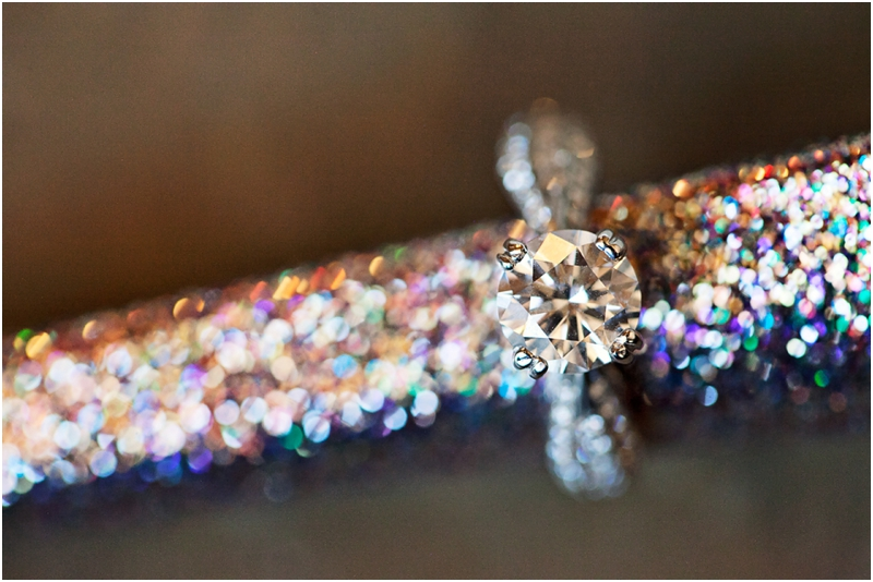engagement ring on sparkly heel