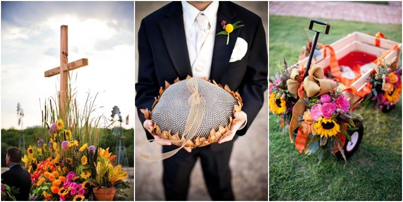 college flowers wedding details