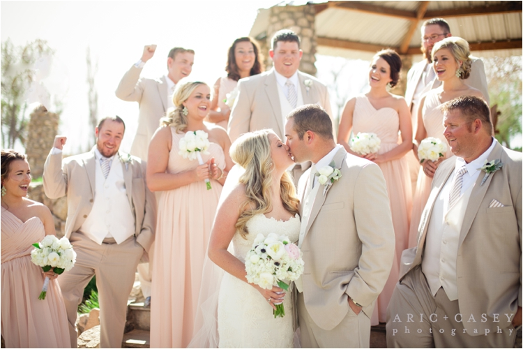blush and tan wedding party colors