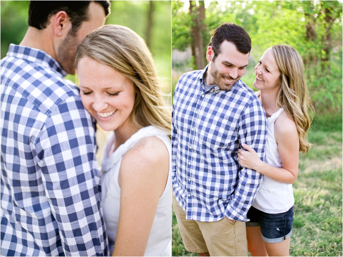 couple having fun at engagement session