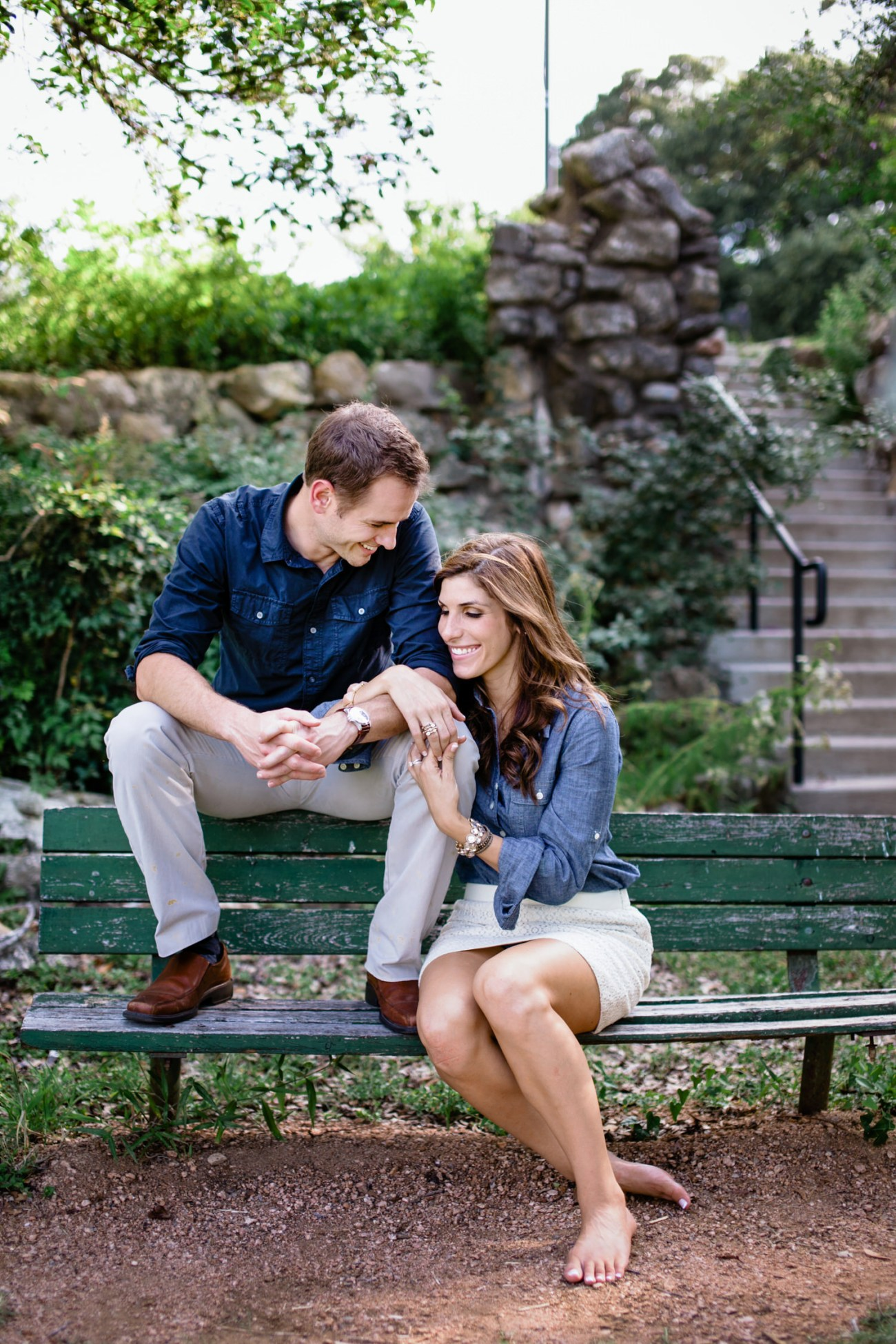 austin engagement couple on bench