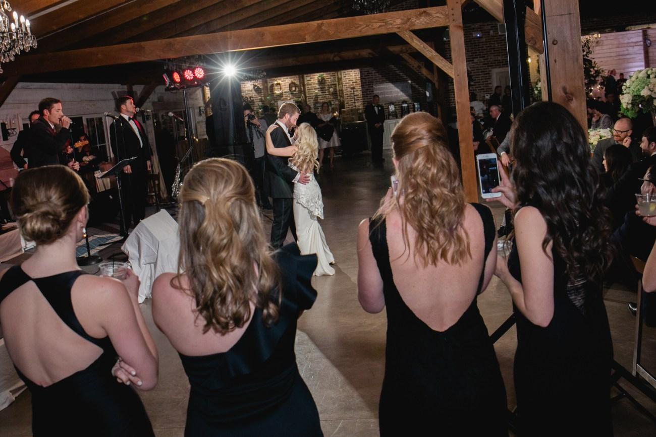 bridesmaids watching