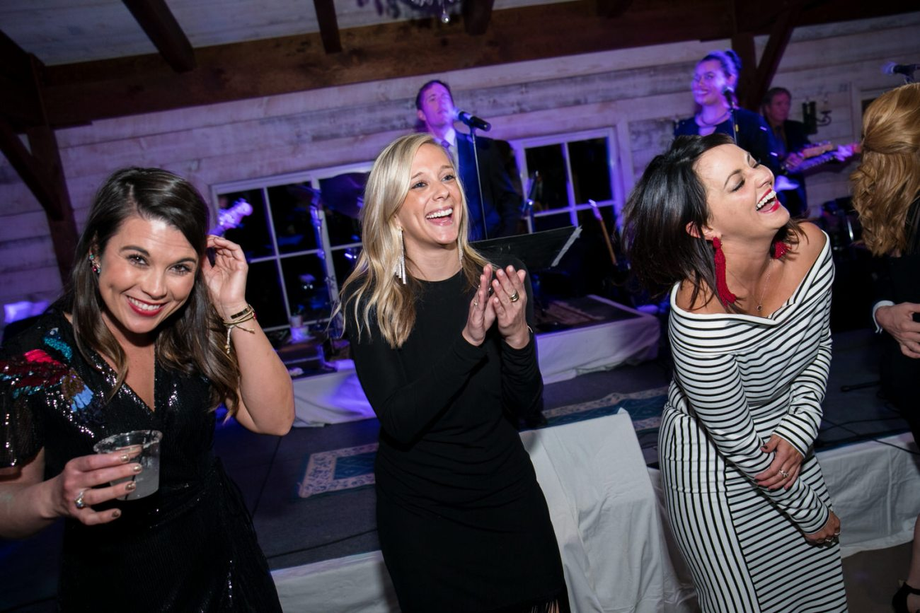 girls having fun at lubbock wedding reception