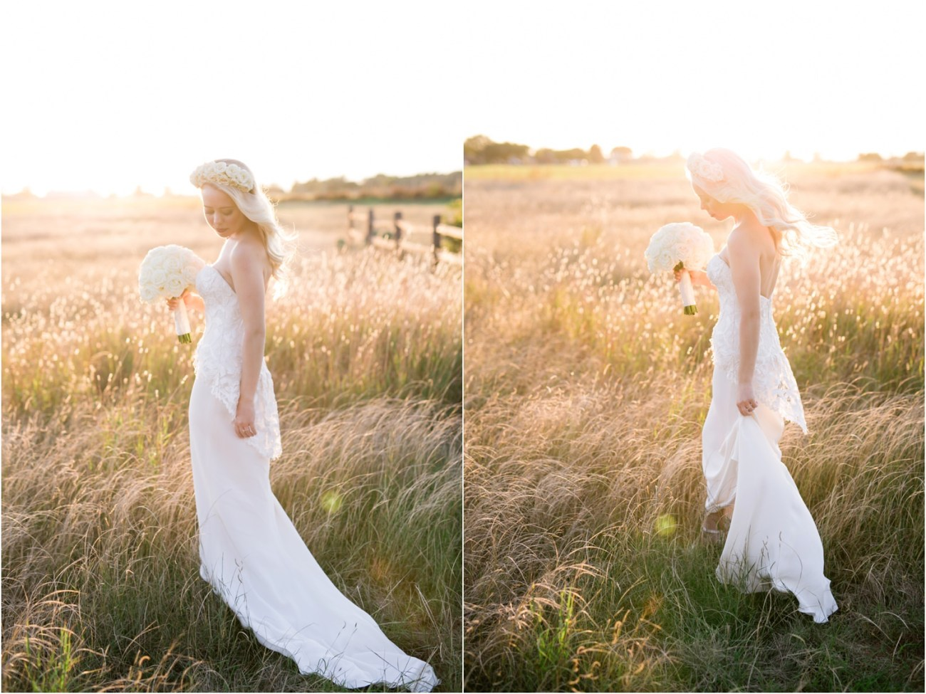 bridal session in field