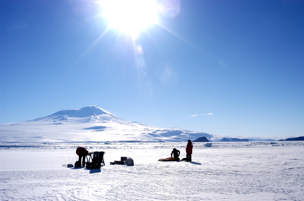 Doing science in the Antarctic.
