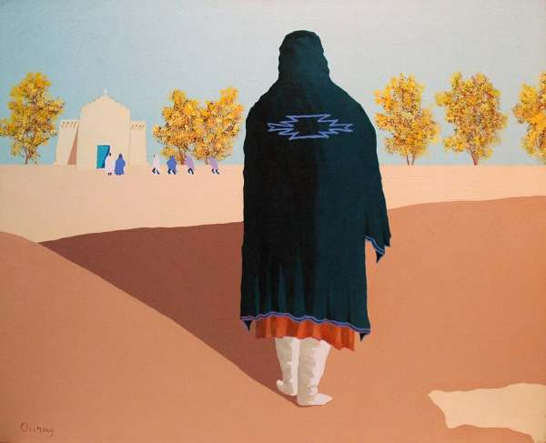 Woman in shawl with Zia symbol in New Mexican landscape.