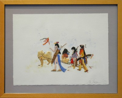 Hand Painted Engraving by Ed Morgan, framed, Native American figures with dogsled