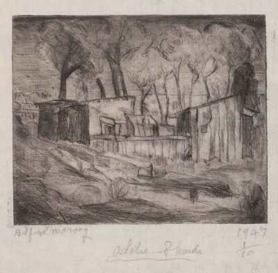 Adobe Shacks, Print by Alfred Morang