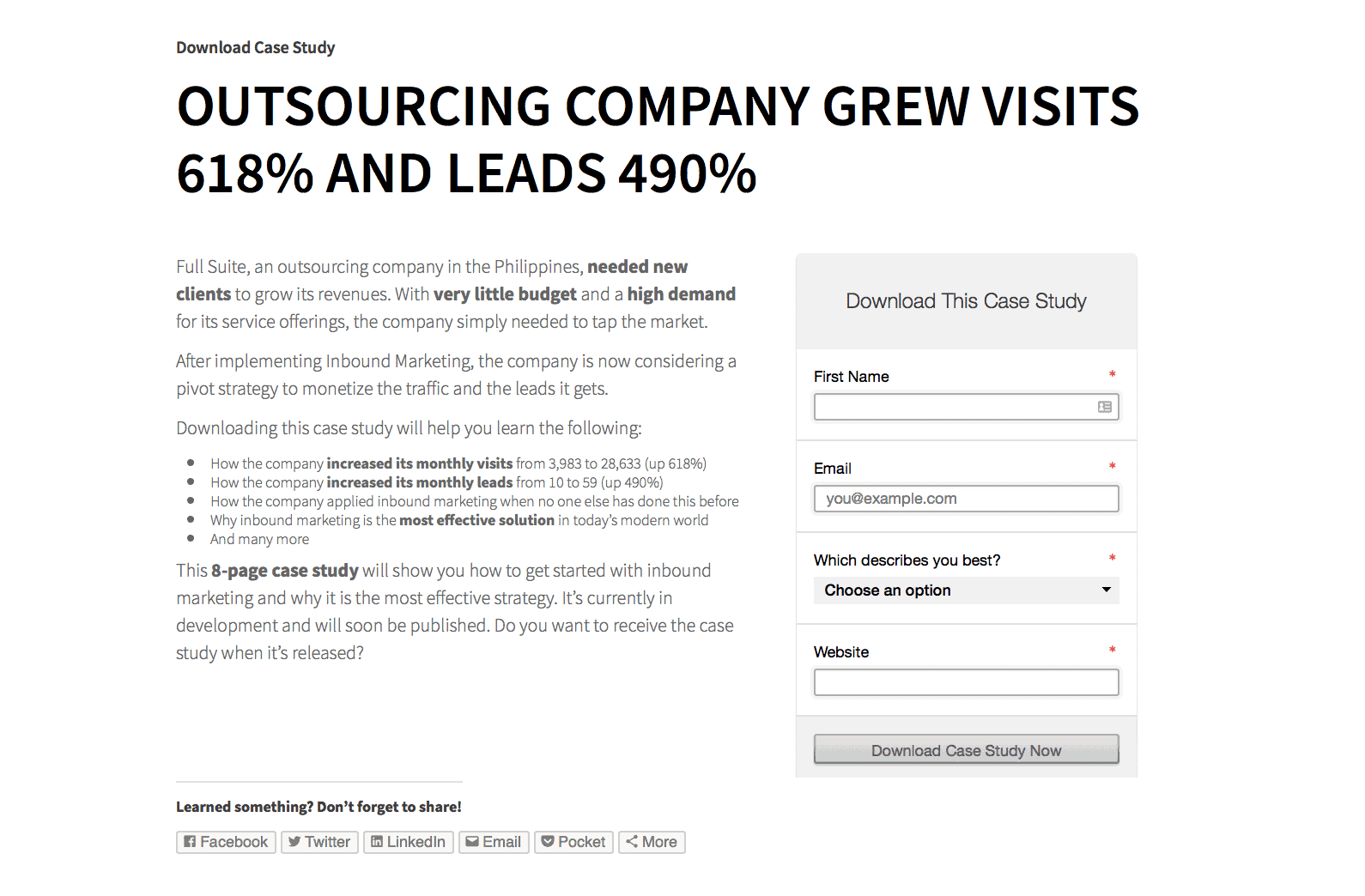 Landing Page Example: Full Suite Case Study