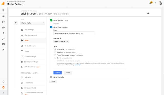 Google Analytics Goals: Description