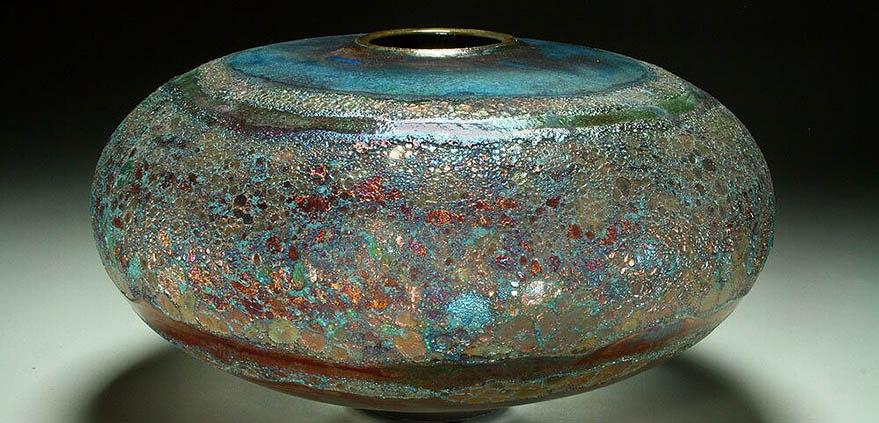 Raku pottery vessel by Steven Forbes-deSoule