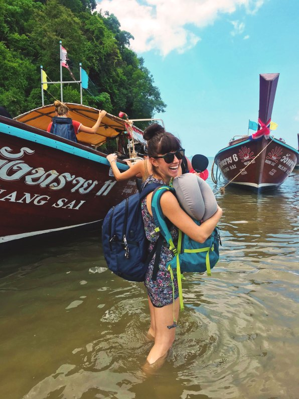 """When it took three days for my backpack to arrive, I made peace with the clothes on my back, dampened with sweat and seawater."" Pictured here with Devon's and my daypacks – my backpack with all my clothes and belongings would arrive a day later."