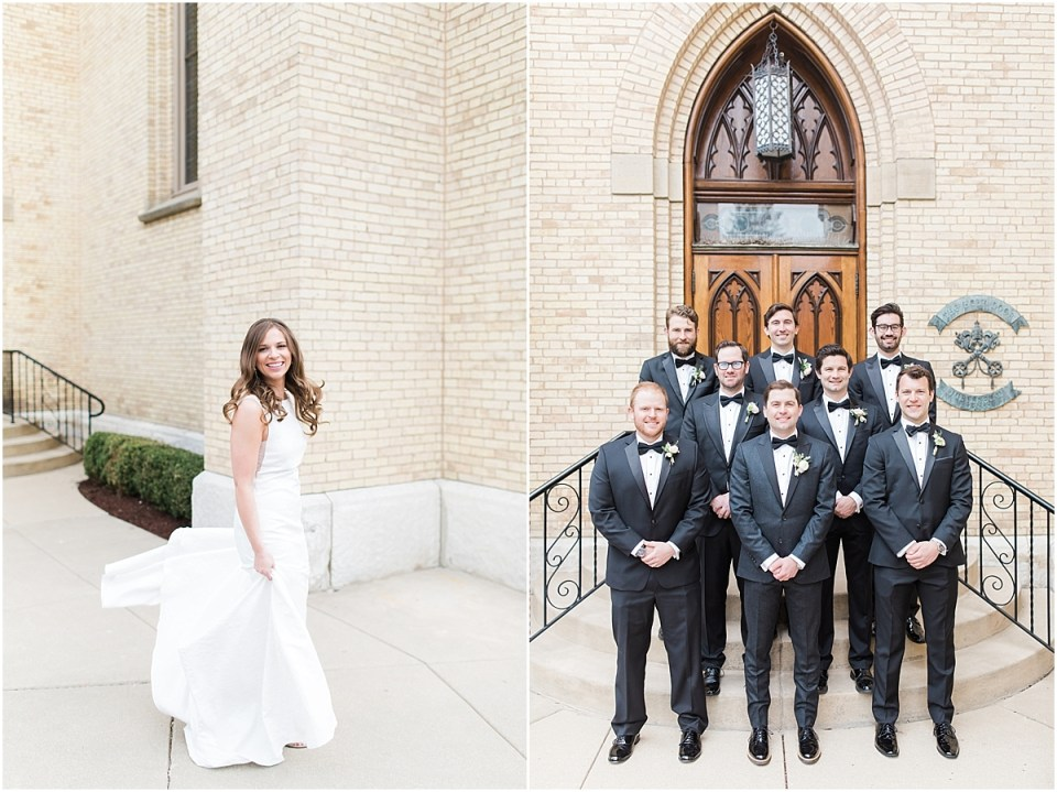 Arielle Peters Photography | Groom and groomsmen outside of cathedral on wedding day at the Basilica of the Sacred Heart in Notre Dame, Indiana.