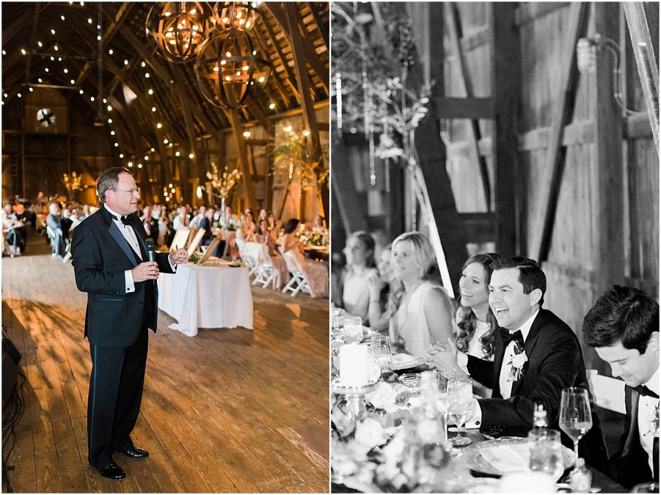 Arielle Peters Photography | Father of bride giving speech at wedding reception on wedding day at St. Joseph's Farm in Granger, Indiana.