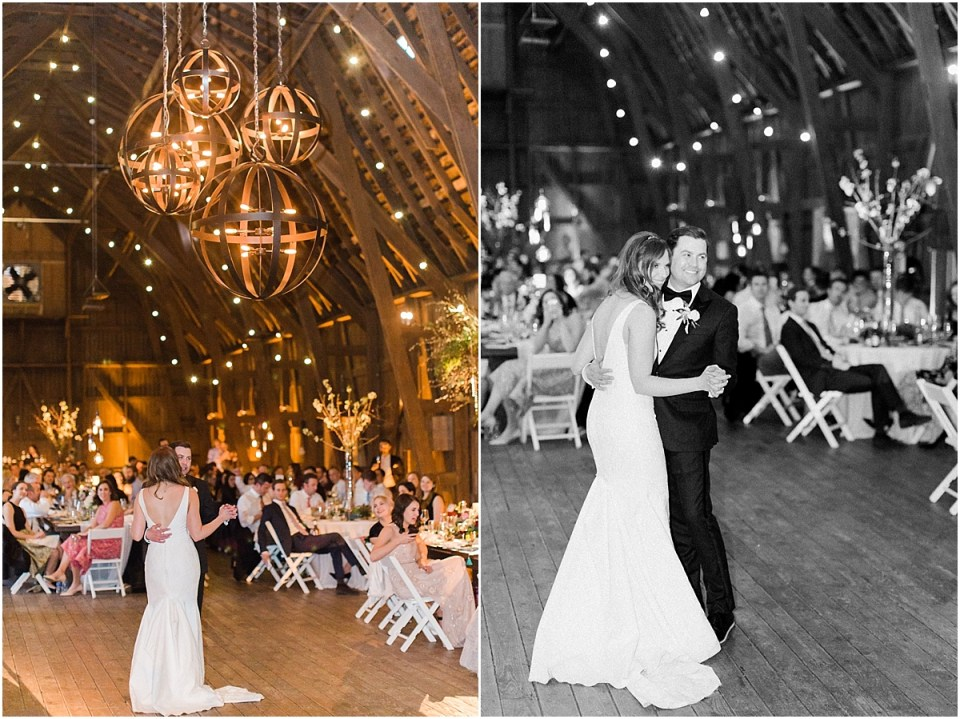 Arielle Peters Photography | Bride and groom sharing first dance at wedding reception on wedding day at St. Joseph's Farm in Granger, Indiana.