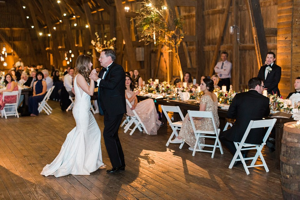 Arielle Peters Photography | Father of bride and bride sharing a dance at wedding reception on wedding day at St. Joseph's Farm in Granger, Indiana.