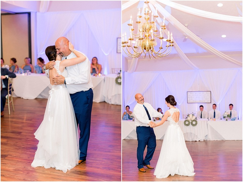Arielle Peters Photography | Father of the bride and bride dancing at the wedding reception at The Blue Heron at Blackthorn in South Bend, Indiana on wedding day.