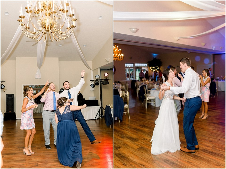 Arielle Peters Photography | Bride and groom dancing at wedding reception at The Blue Heron at Blackthorn in South Bend, Indiana on wedding day.