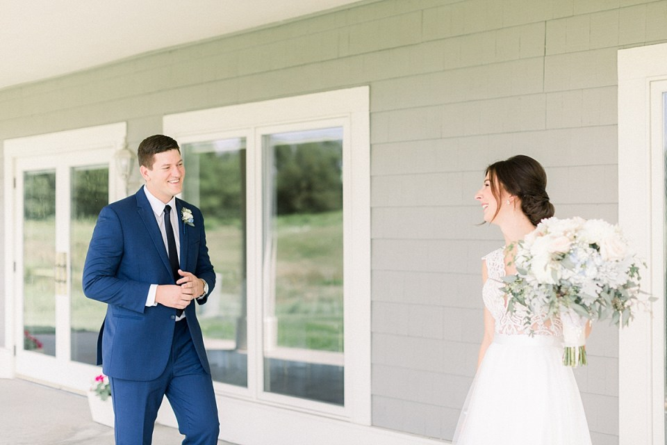 Arielle Peters Photography | Bride and groom having first reveal on wedding day at The Blue Heron at Blackthorn in South Bend, Indiana on wedding day.