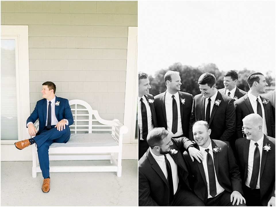 Arielle Peters Photography | Groom and groomsmen smiling outside at The Blue Heron at Blackthorn in South Bend, Indiana on wedding day.