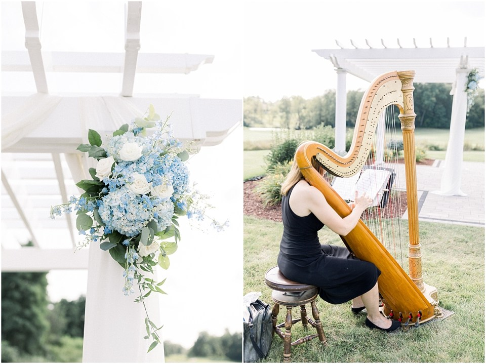 Arielle Peters Photography | Harp player at outdoor wedding at The Blue Heron at Blackthorn in South Bend, Indiana on wedding day.