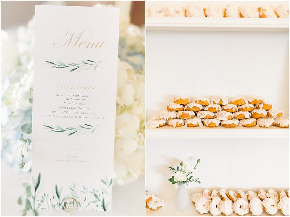 Arielle Peters Photography | Wedding reception table settings and dessert table at The Blue Heron at Blackthorn in South Bend, Indiana on wedding day.