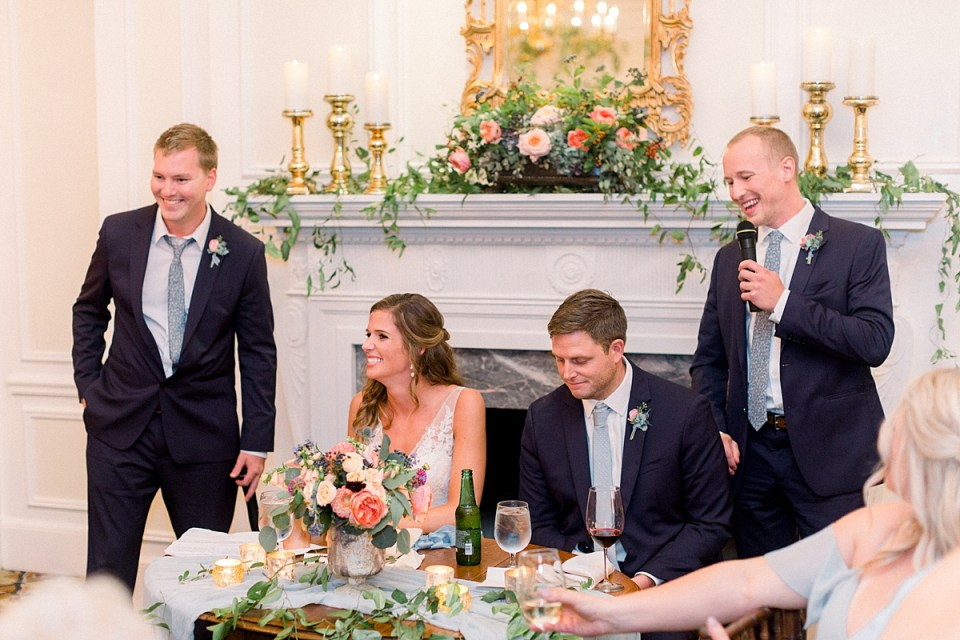 Arielle Peters Photography | Groomsmen giving speech at wedding reception at Sycamore Hills Golf Club in Fort Wayne, Indiana on wedding day.