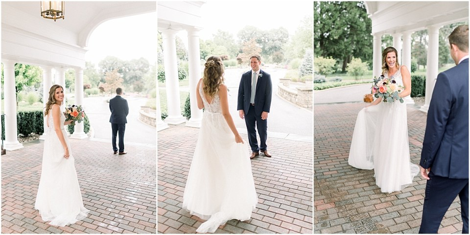 Arielle Peters Photography | Bride and groom having first reveal outside at Sycamore Hills Golf Club in Fort Wayne, Indiana on wedding day.