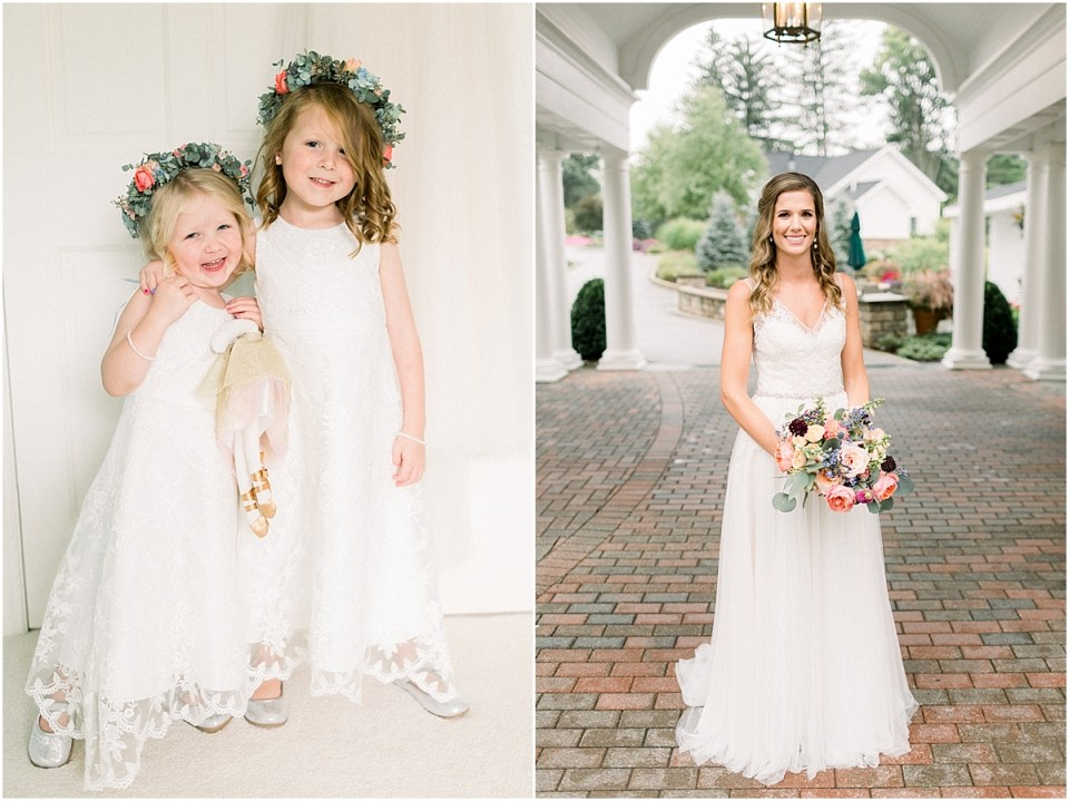 Arielle Peters Photography | Bride and flower girls smiling at Sycamore Hills Golf Club in Fort Wayne, Indiana.