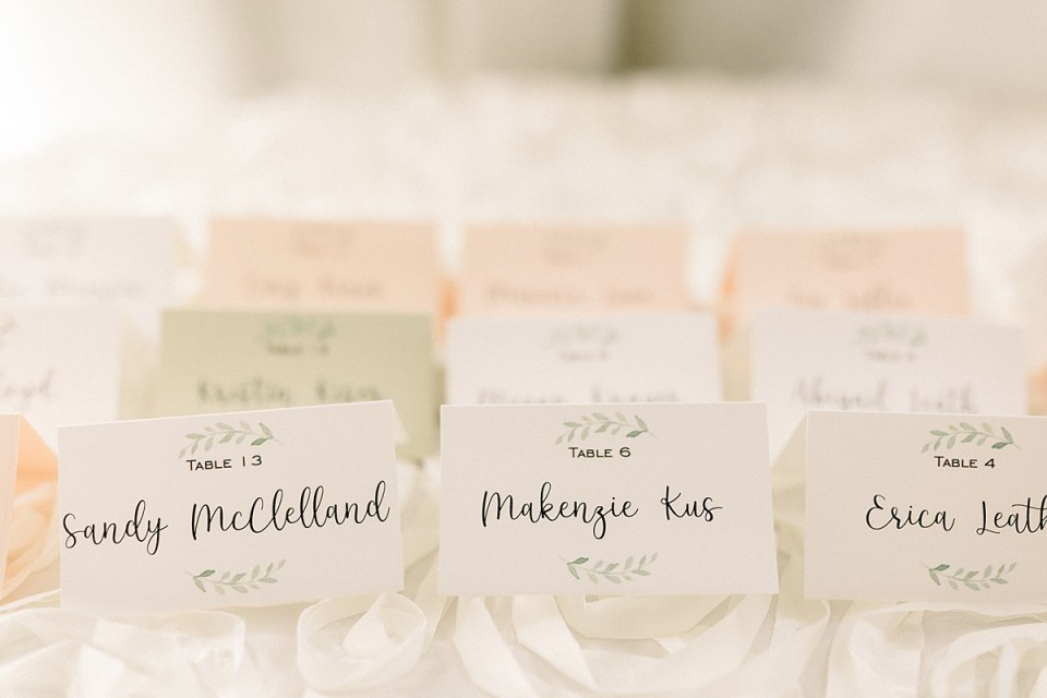 Arielle Peters Photography | Wedding reception table settings and name tags at The Bridgewater Club in Carmel, Indiana on wedding day.
