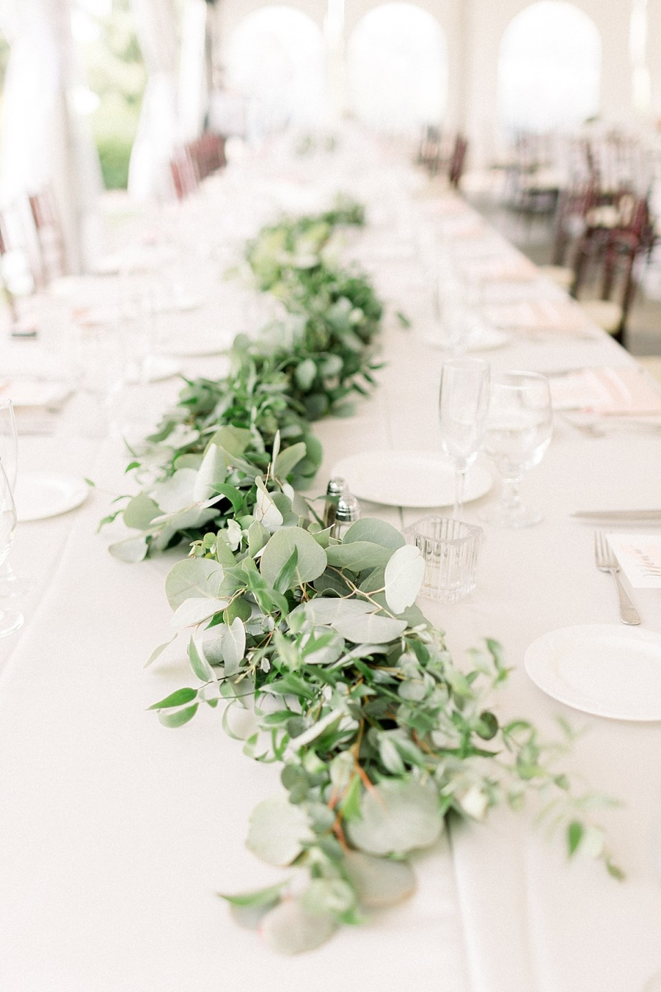 Arielle Peters Photography | Wedding reception table settings and floral arrangements at The Bridgewater Club in Carmel, Indiana on wedding day.