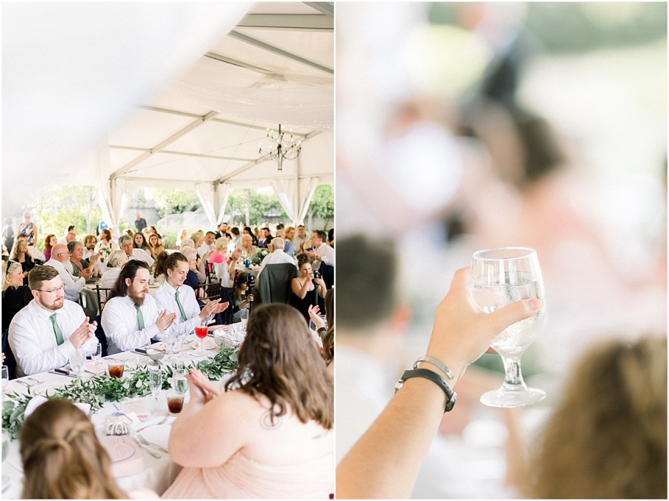 Arielle Peters Photography | Wedding guests raising a glass at the wedding reception at The Bridgewater Club in Carmel, Indiana on wedding day.