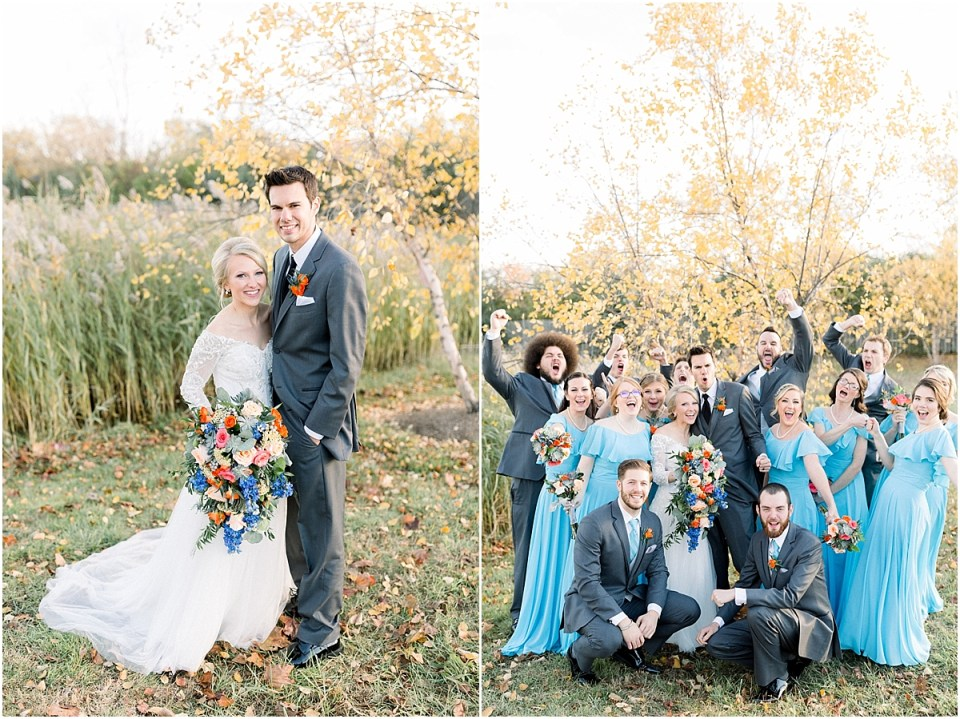 Arielle Peters Photography | Bride and groom cheering with wedding party outside on fall wedding day.