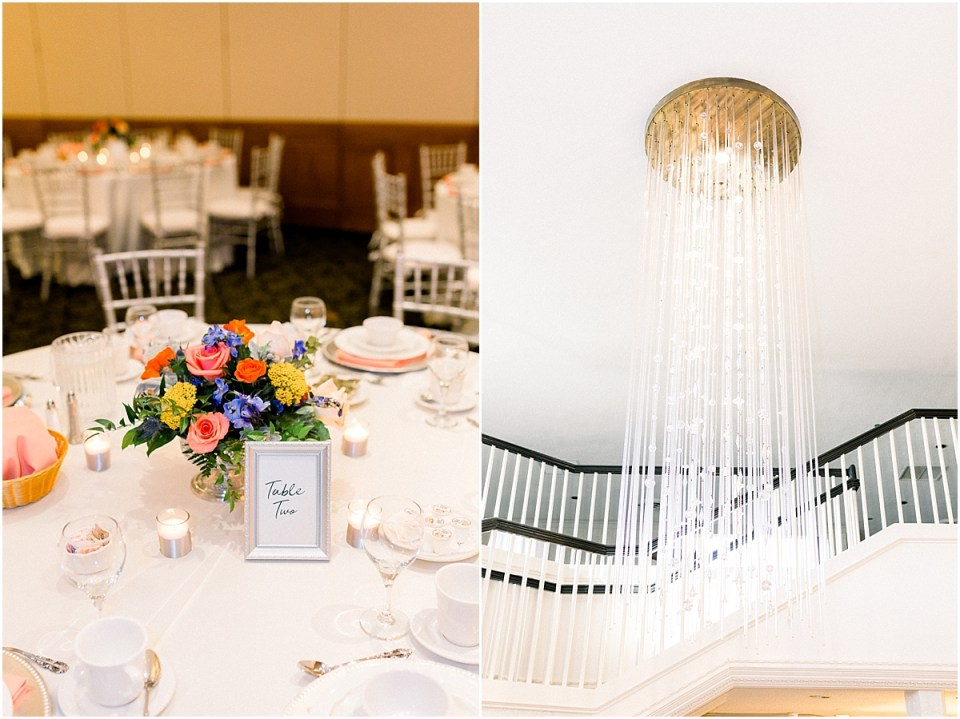 Arielle Peters Photography | Fall wedding table settings and flower arrangements at wedding reception venue.