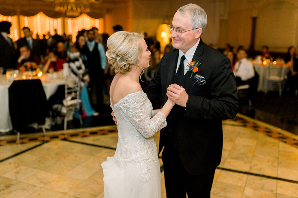 Arielle Peters Photography | Father of the bride sharing a dance with the bride at fall wedding reception.
