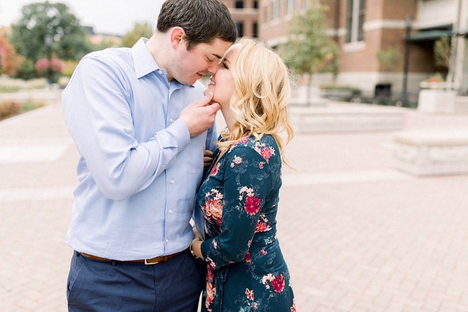Arielle Peters Photography | Couple kissing and taking fall engagement photos at Purdue University.
