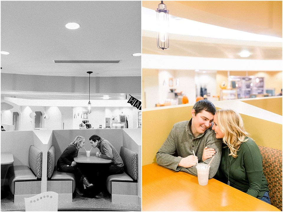 Arielle Peters Photography | Couple drinking milkshakes during fall engagement photos at Purdue University.