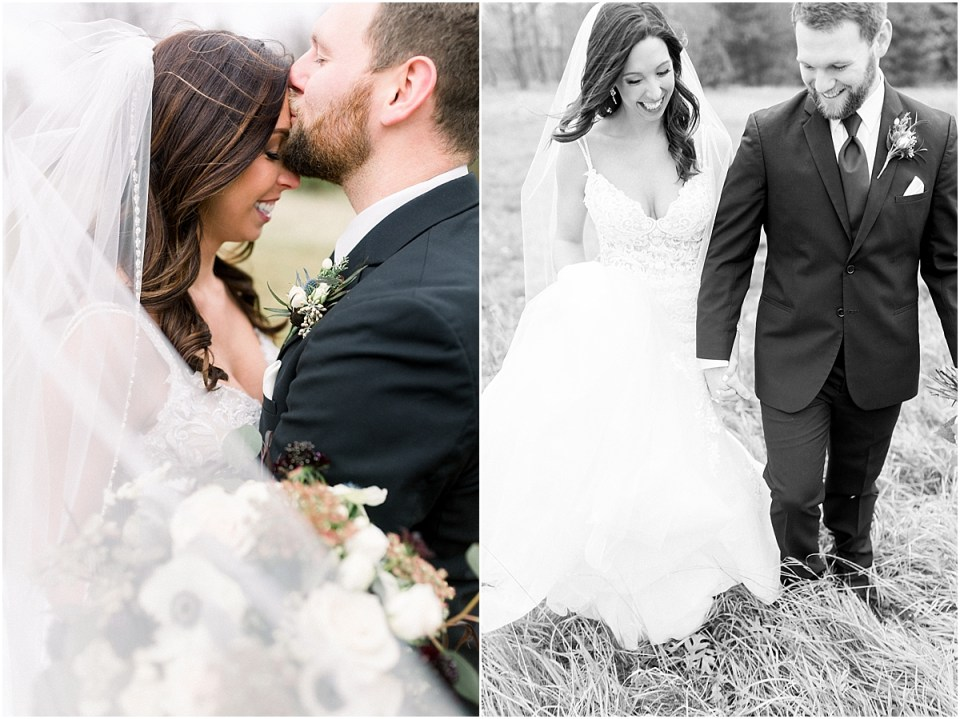 Arielle Peters Photography | Bride and Groom kissing in a field on wedding day.