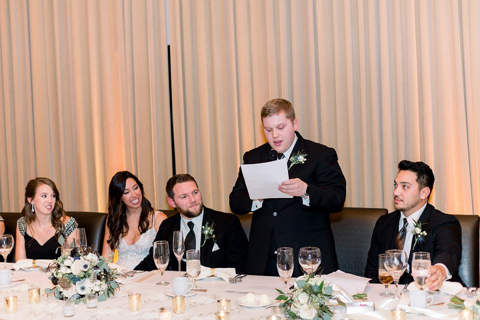 Arielle Peters Photography | Best man giving speech at wedding reception and bride and groom laughing.