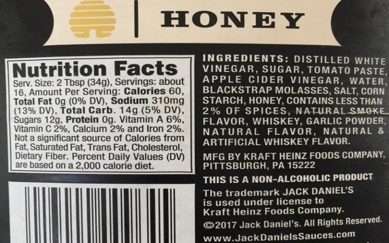 Jack Daniel Honey BBQ sauce ingredients