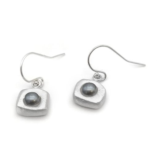 Black Silver Pearl Earrings