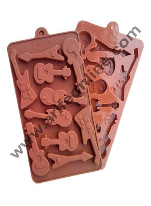 Cake Decor Silicon 10 Cavity Guitar Design Brown Chocolate Mould, Ice Mould, Chocolate Decorating Mould 1