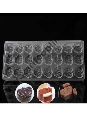 Cake Decor 24 Cavity King Crown Sahpe Polycarbonate Chocolate Mould; Chocolate