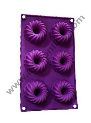 Cake Decor Silicon 6 in 1 Round Frill Donut Muffin Cupcake Mould