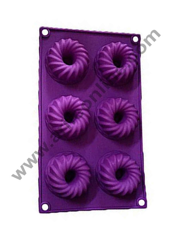 Cake Decor Silicon 6 in 1 Round Frill Donut Muffin Cupcake Mould 1