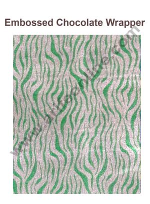 Cake Decor Chocolate Wrappering Foil, Embossed Chocolate Wrapper, 200 Sheets - 10in x 7in - Golden Green Zebra Stripes