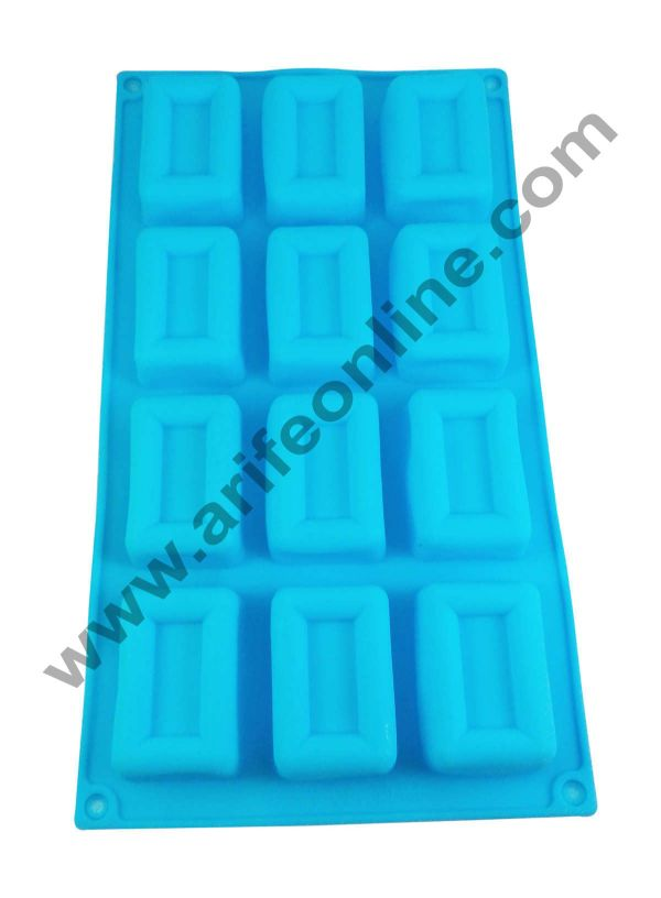 Cake Decor Silicon 12 in 1 Rectangle Shape Muffin Cupcake Mould 1